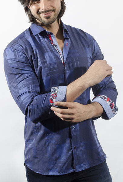 Via Uomo shirts Taburno Navy big plaid blue shirt with trim inside collar cuff and front placket