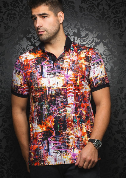 Au Noir red polo shirt with funky art