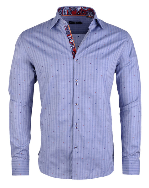 Stone Rose ash blue stripe shirt with allover multi color fil coupe dots