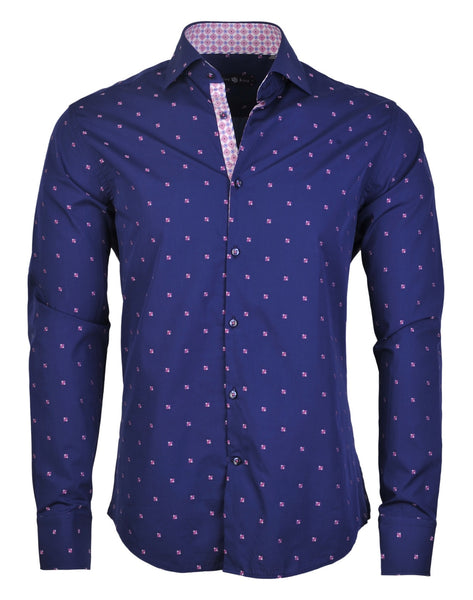 Stone Rose blue dress shirt with fil coupe accent