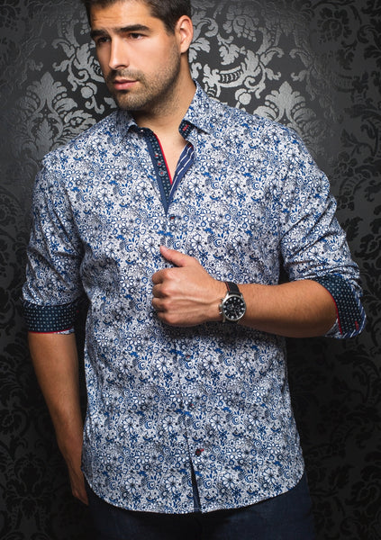 royal blue floral shirt designed by Au Noir shirts
