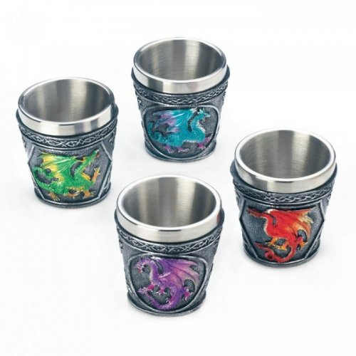 MYTHICAL DRAGONS SHOT GLASS SET OF 4