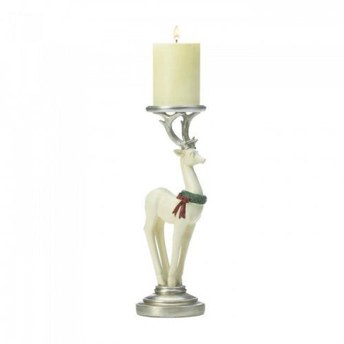 SMALL WHITE REINDEER CANDLEHOLDER