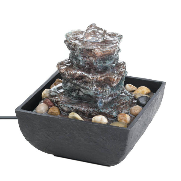 Rock Tower Small Tabletop Water Fountain