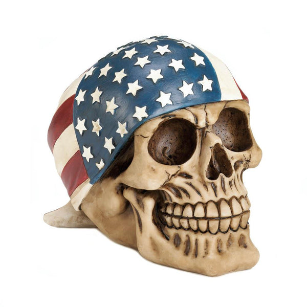 Skull With American Flag Bandana Figurine