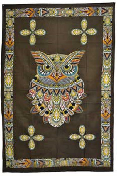 "Owl Tapestry Cloth 54"" x 86"""