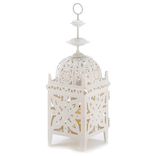 White Medallion Candle Lantern