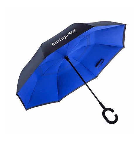 EasyBrella Reverse Open Umbrella in Black & Blue - Includes One Color Logo on One Location Imprint