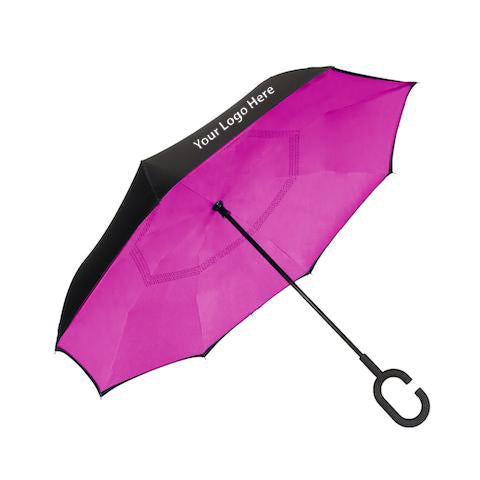 EasyBrella Reverse Open Umbrella in Black & Pink- Includes One Color Logo on One Location Imprint