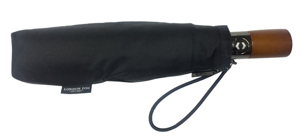 London Fog Classic Black Mini Auto Open Close Umbrella - Includes One Color Logo on One Location Imprint