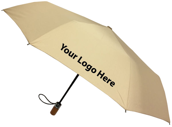 London Fog Classic Tan Mini Auto Open Close Umbrella - Includes One Color Logo on One Location Imprint