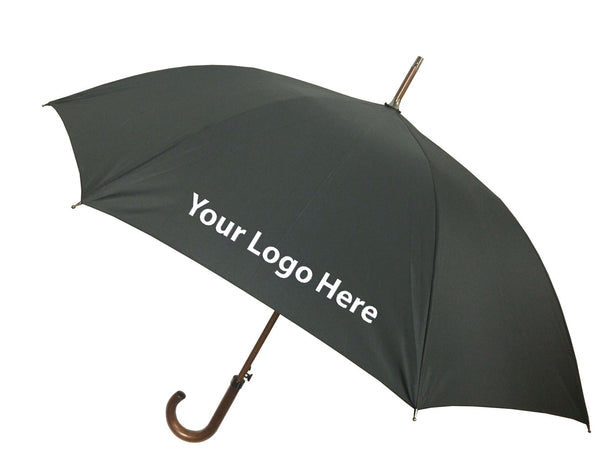 London Fog Classic Black Auto Open Stick Umbrella - Includes One Color Logo on One Location Imprint