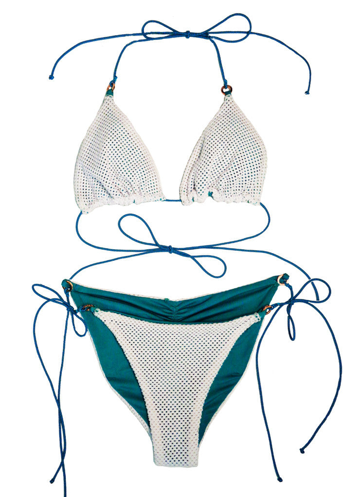 THE CAVIAR BIKINI TOP IN WHITE MESH/ TEAL