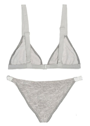 .NEW!  THE VIDA BIKINI TOP IN FRENCH TERRY GREY