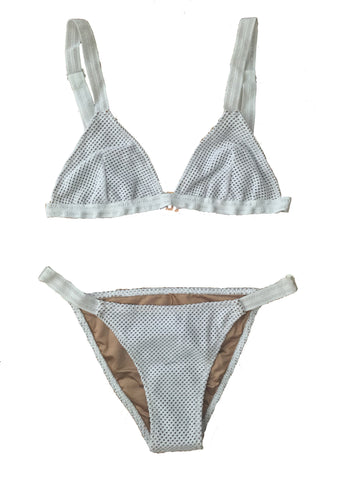 .NEW!  THE VIDA BIKINI TOP IN WHITE MESH