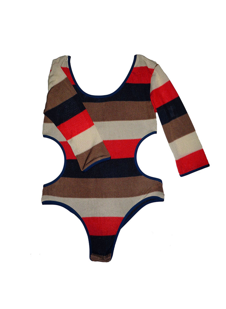 Leah Shlear - Swimwear - One Piece - The Esclipse Bodysuit - 90s Stripe