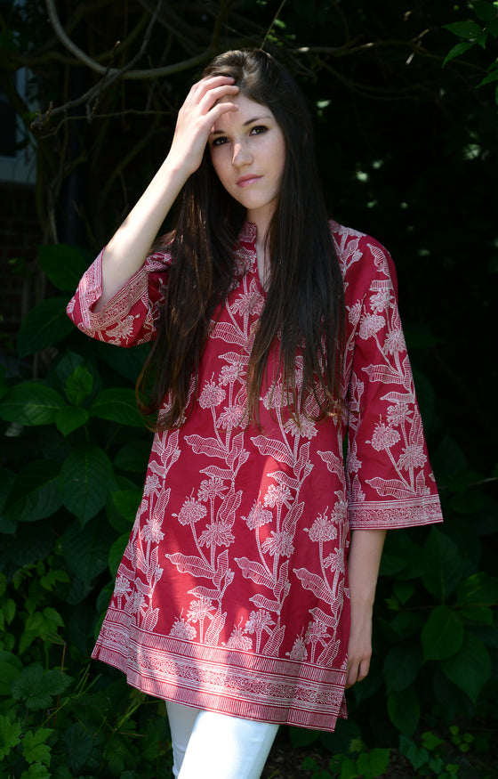 Straight Tunic in Acadian Red