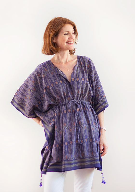 Peasant Tunic in Amethyst Batik