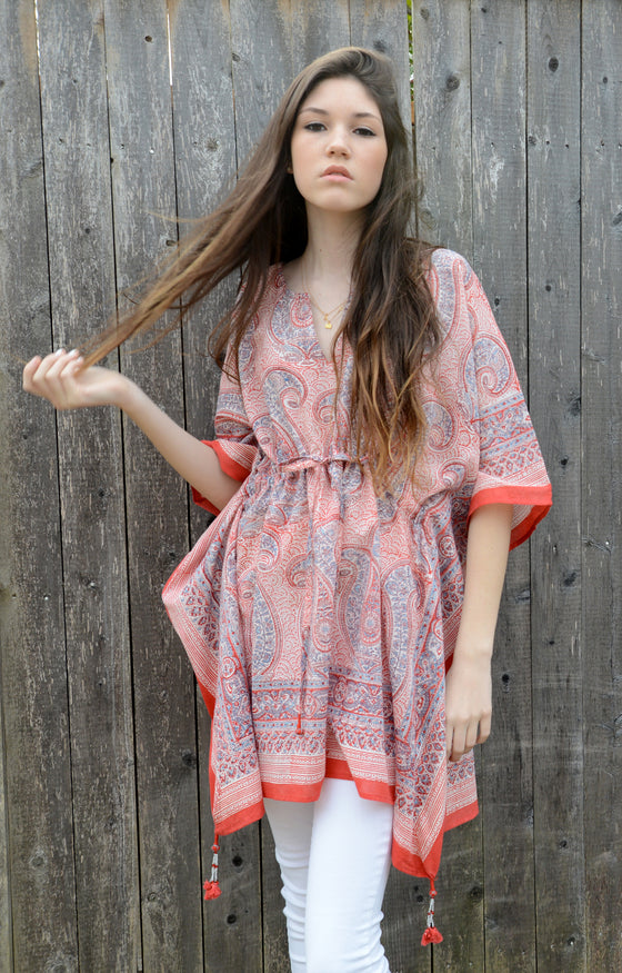 Peasant Tunic in Big Red