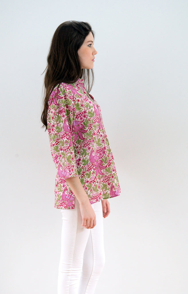 Pintuck Blouse in Birds and Berries