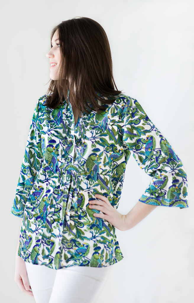 Pintuck Blouse in Birds