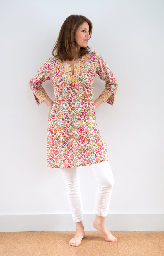 Bias Tunic in Blazing Garden