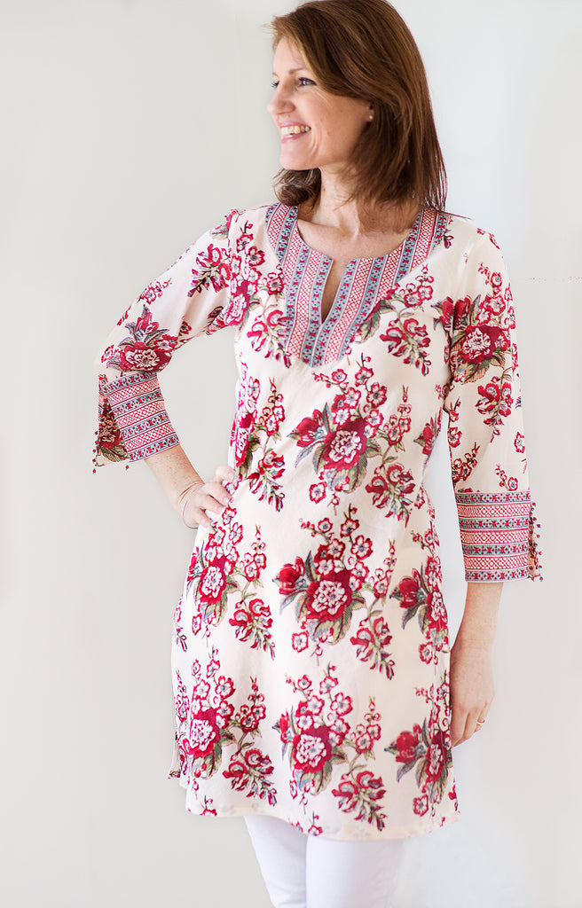 Bias Tunic in Blossoms Red