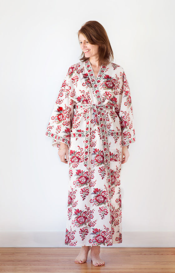 Long Kimono in Blossoms Red
