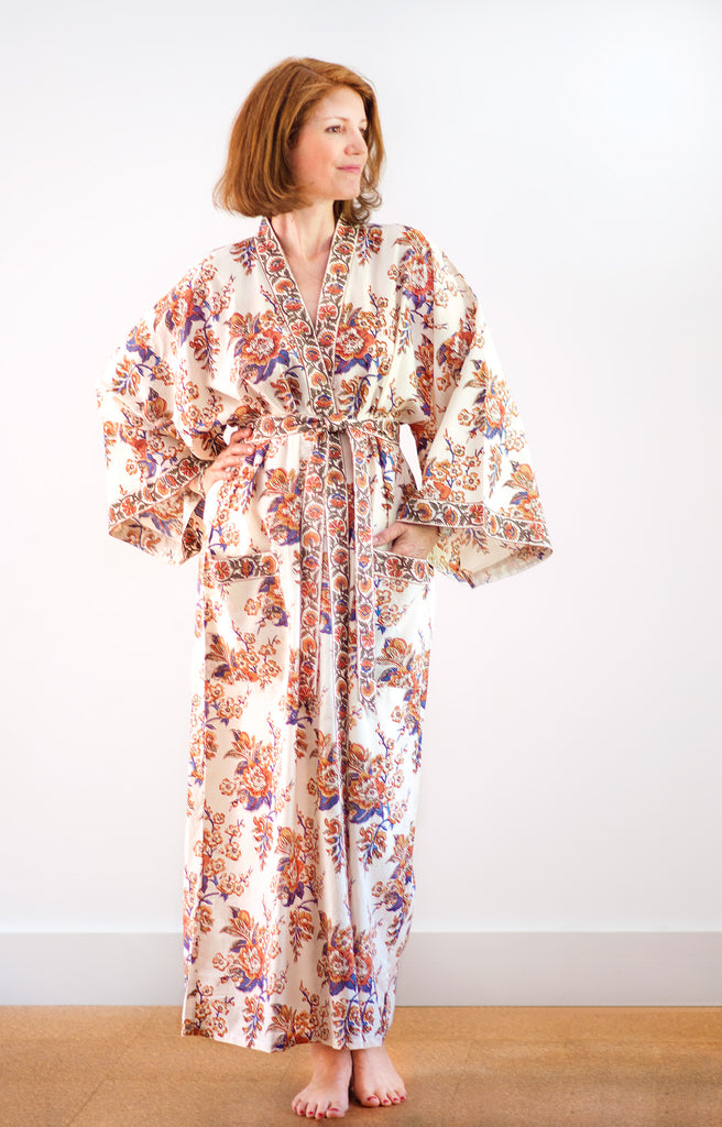 Long Kimono in Blossoms Sienna