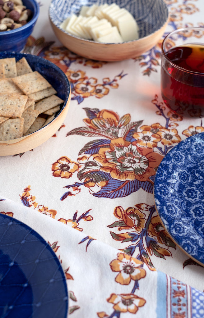Table Linens in Blossoms Sienna