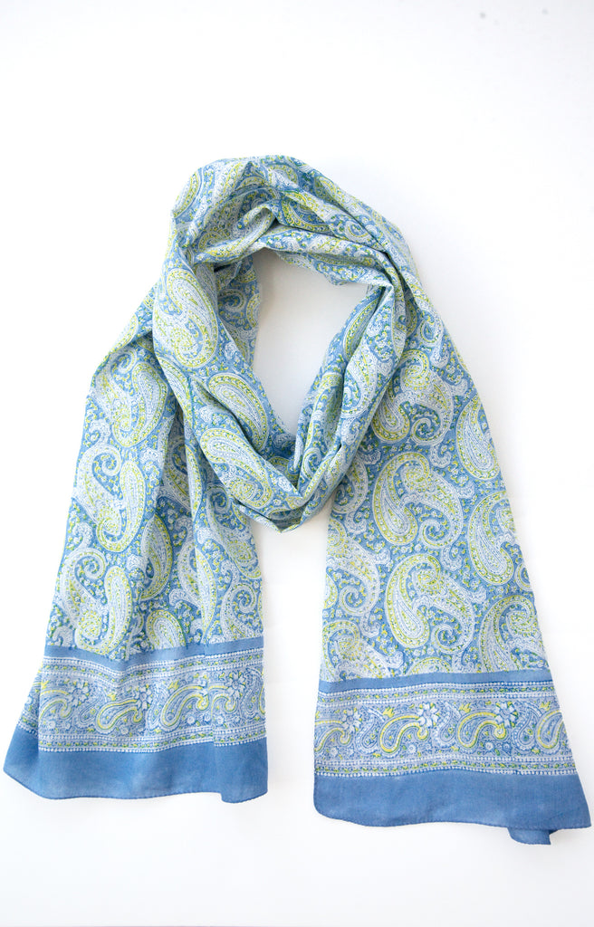 Scarf in Blue Paisley