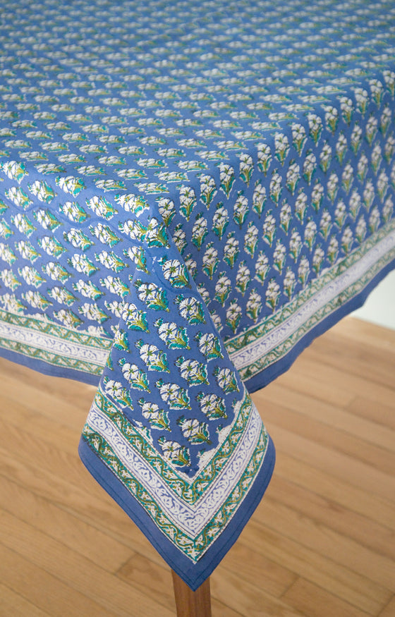 Table Linens In Botanical Blue