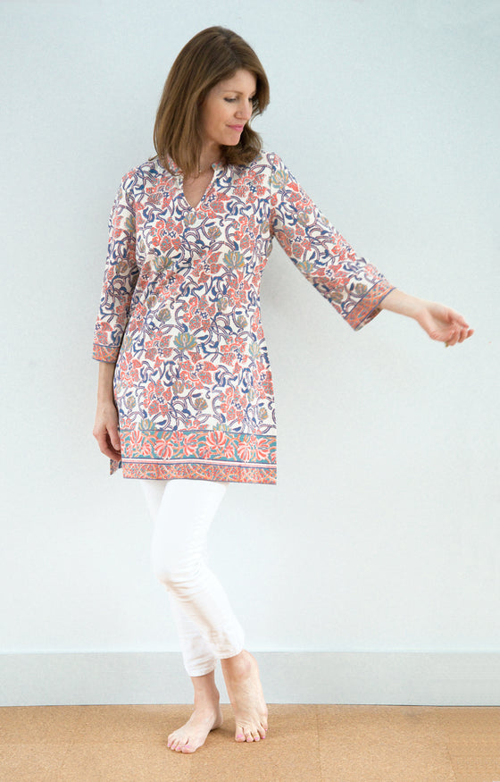 Straight Tunic in Bright Trellis