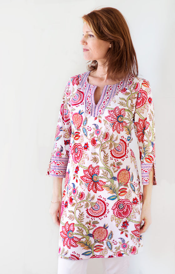 Bias Tunic in Brilliant Floral