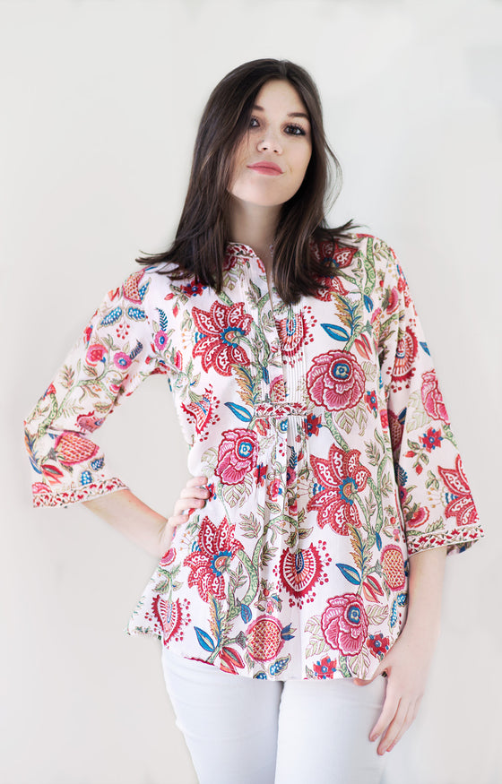 Pintuck Blouse in Brilliant Floral