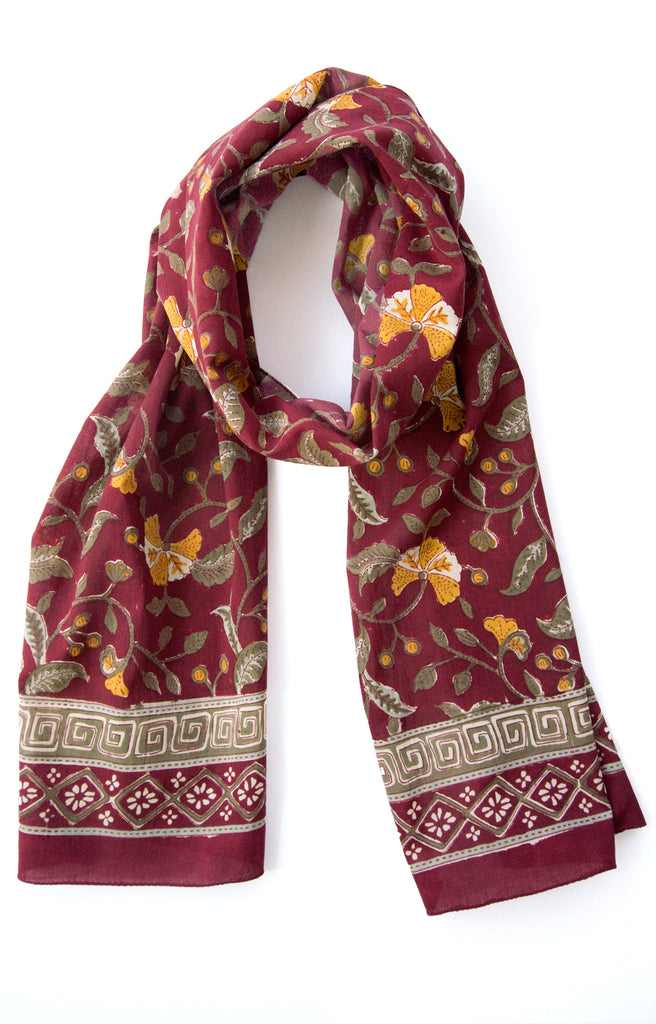 Scarf in Burgundy Fan Flower