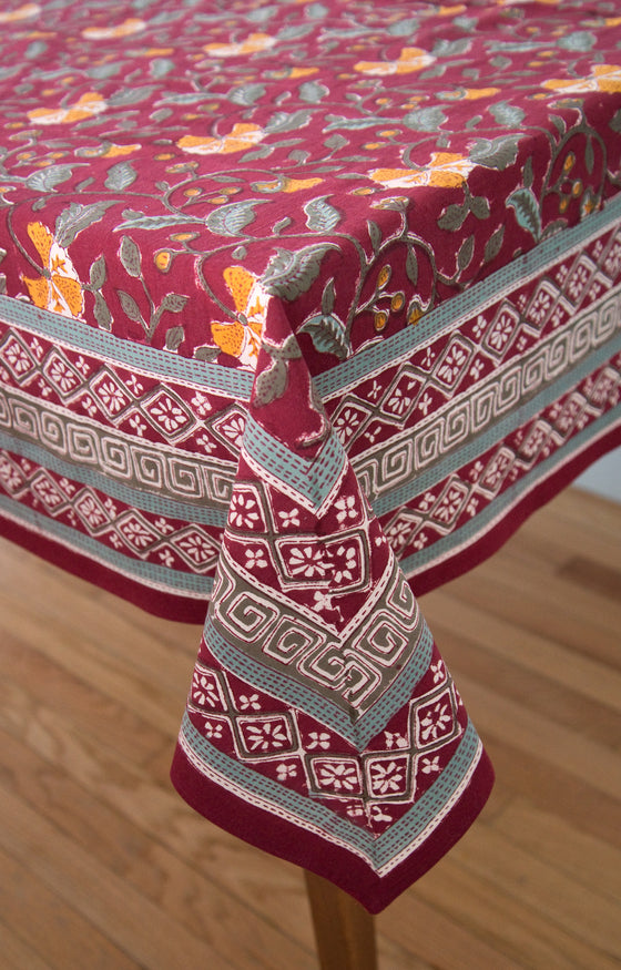 Table Linens in Burgundy Fan Flower