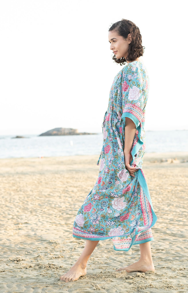 Drawstring Kaftan in Chinese Aqua