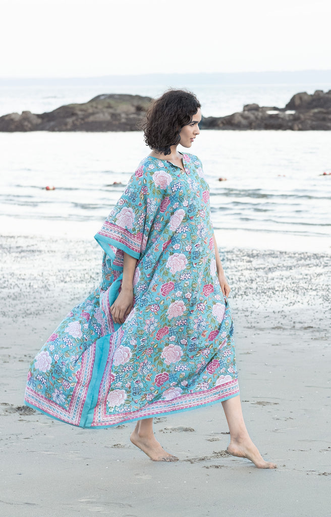 Kaftan in Chinese Aqua
