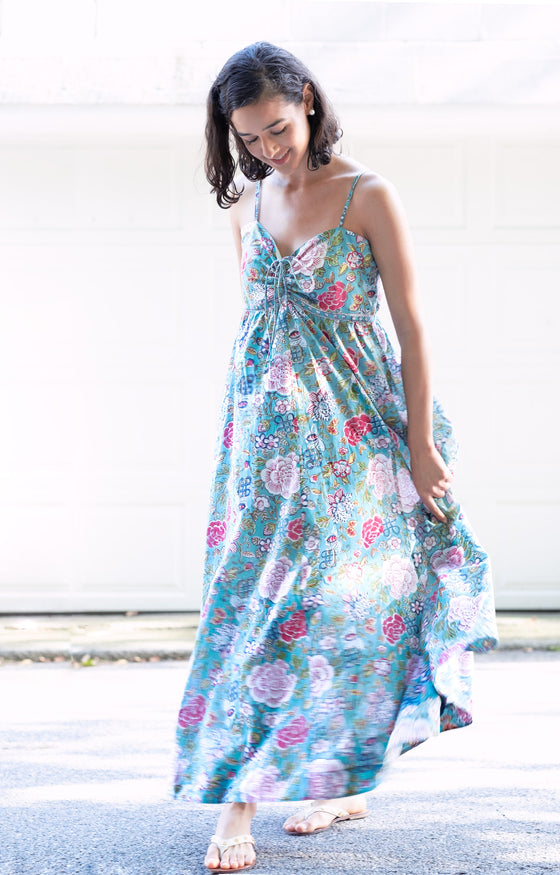 Maxi Dress in Chinese Aqua