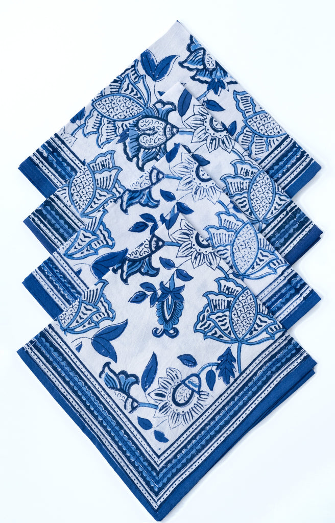 Table Linens in Cobalt on White