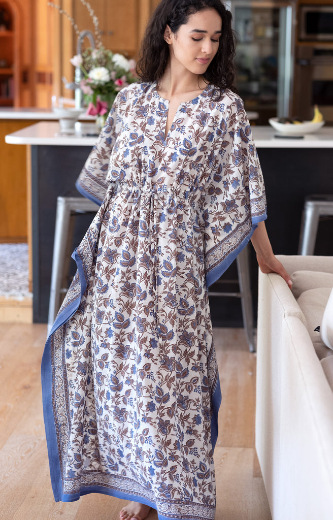Drawstring Kaftan in Colonial Floral