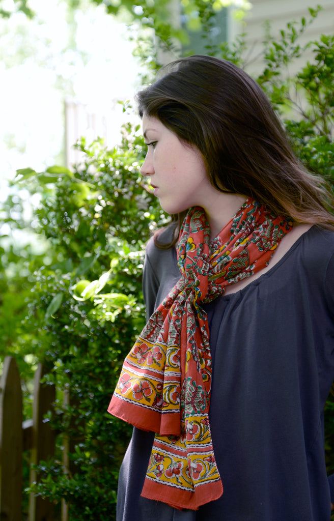 Scarf in Coral Flame Tree