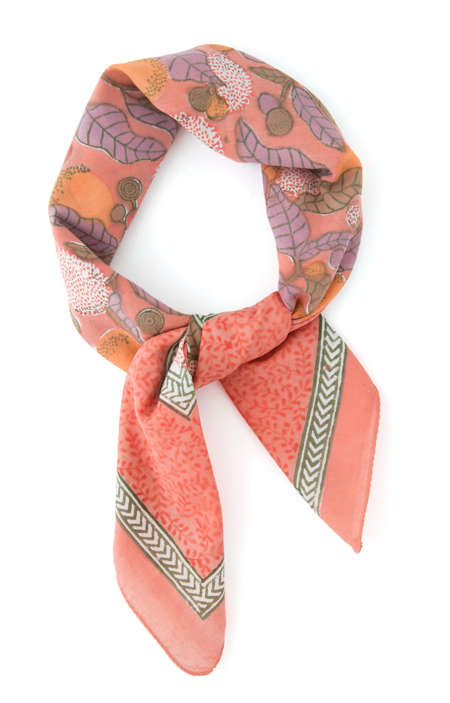 Scarf in Coral Leaves