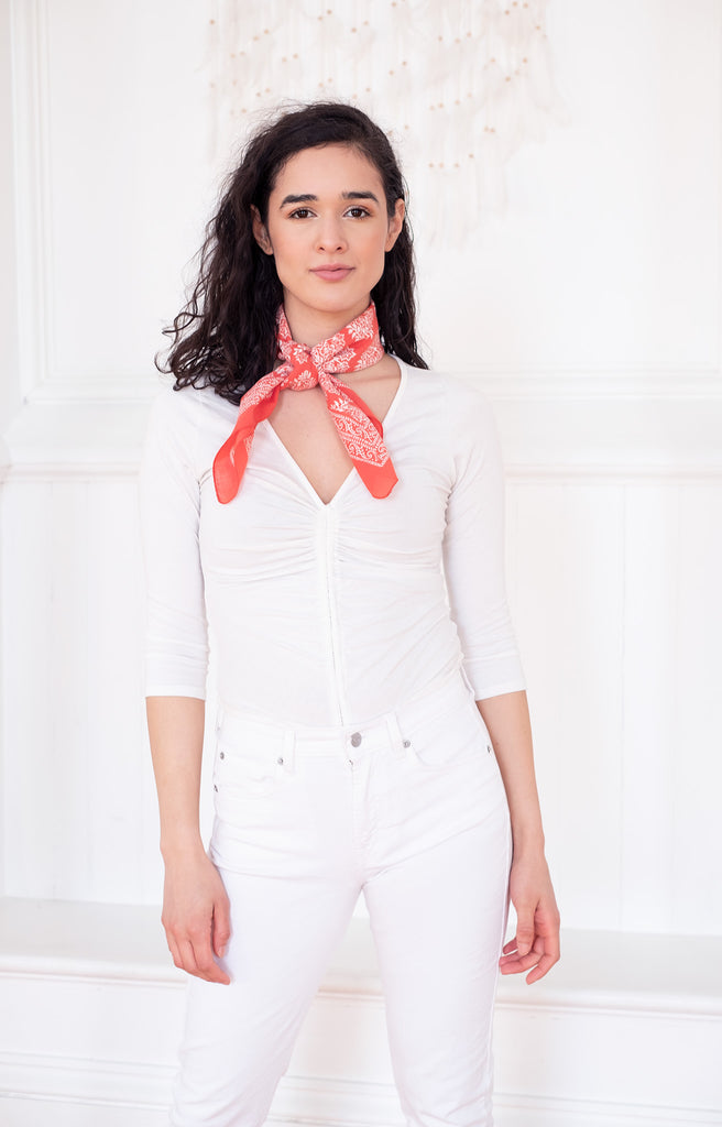Scarf in Coral Motif