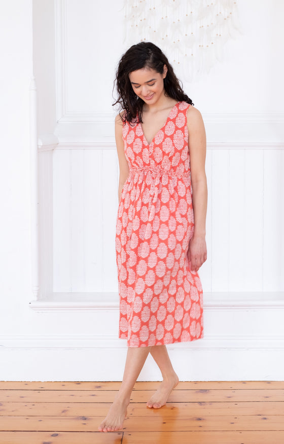 Button Sundress in Coral Motif