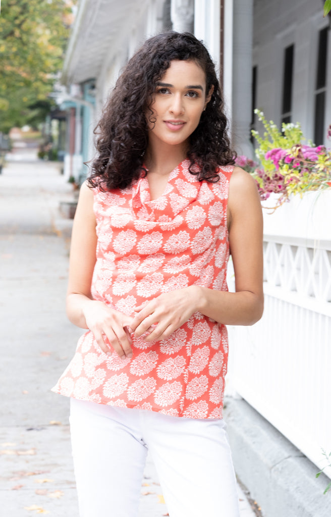 Cowl Tank in Coral Motif