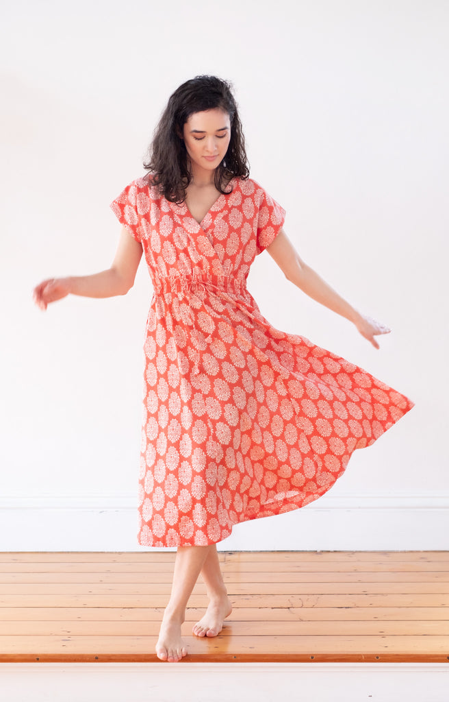 Crossover Sundress in Coral Motif