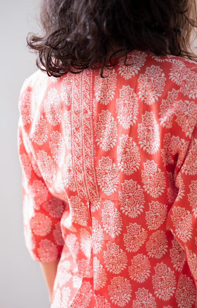 Easy Blouse in Coral Motif