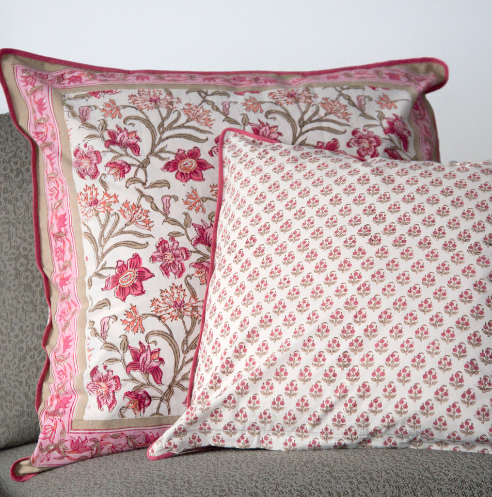 Cushion Covers in Coral Thistle
